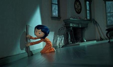 Coraline opening door on the wall.