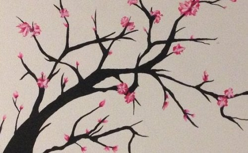 Cherry blossom tree in the process of blooming.