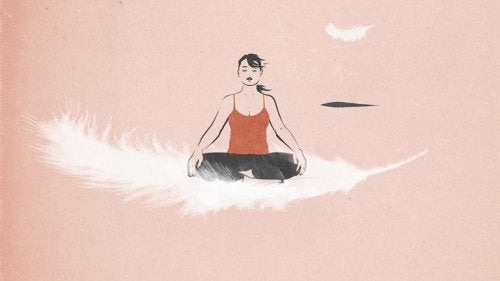 A woman thinking about mindfulness.