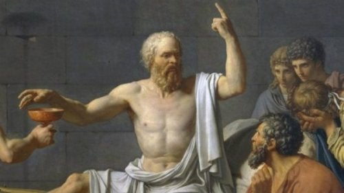 Socrates lecturing.