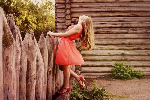 Girl in a red dress.