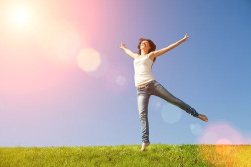 A woman jumping and feeling happy.