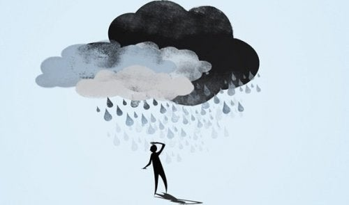 A man with a cloud over his head.