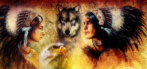 Two Native Americans and a wolf.