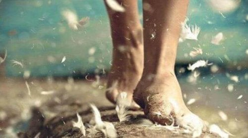 A person walking among feathers.