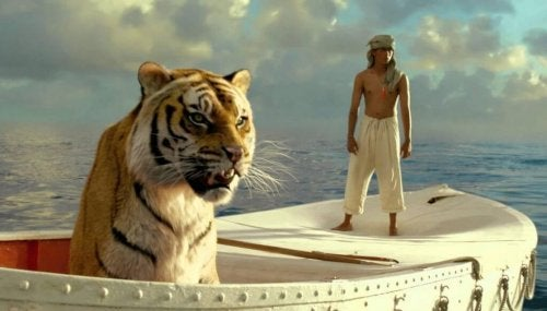 Life of Pi scene with Pi and raft.