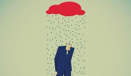A man under the rain.