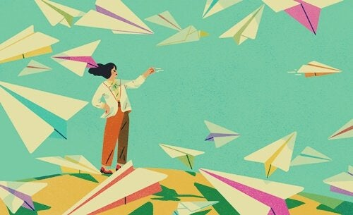 Woman with paper planes.