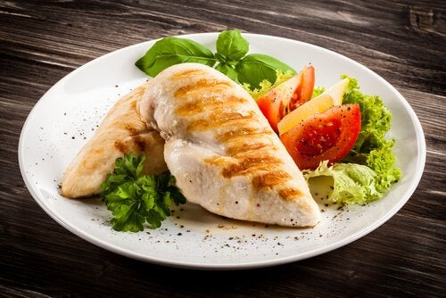 Chicken and salad.