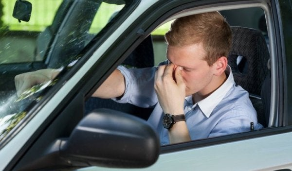 Man with narcolepsy in his car.
