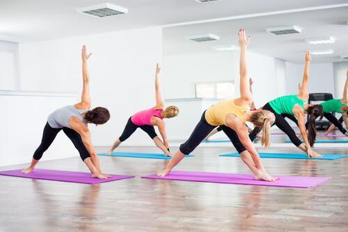People doing bikram yoga.