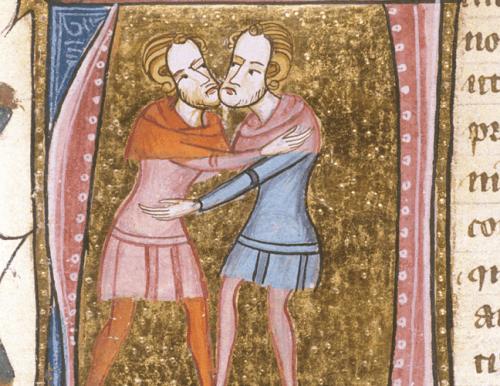 Two men hugging representing adelphopoiesis.