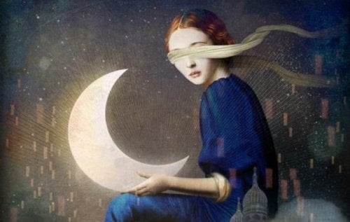 A woman holding the moon with a blindfold on.