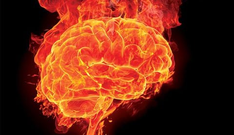 Anxious brain, a brain in flames.