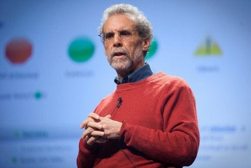 Daniel Goleman giving a presentation.