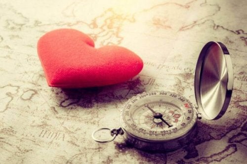 A heart and a compass on a map, representing the journey of emotional maturity.