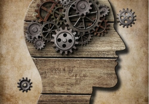 Gears represent the inner workings of the brain, even though the brain is far more complex.