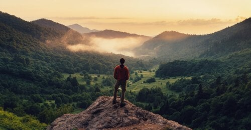A man observing the landscape from the top of a mountain.