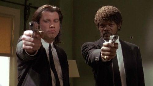 John Travolta and Samuel L. Jackson in Pulp Fiction.