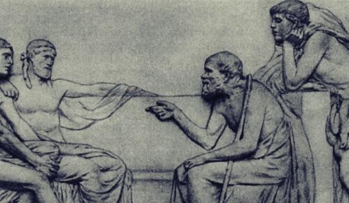 Socrates and some of his disciples.