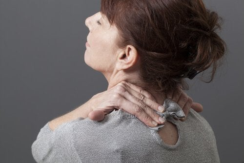A woman with neck pain.
