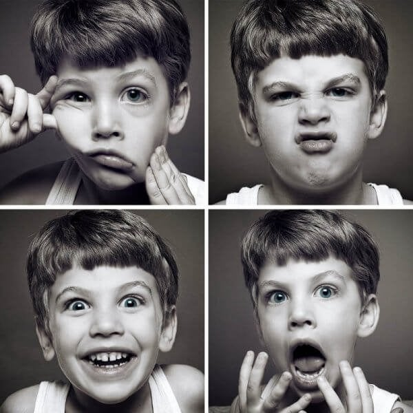 Same boy, different expressions.