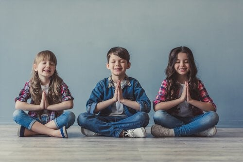Children meditating.