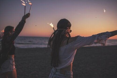 Teenagers in the beach.