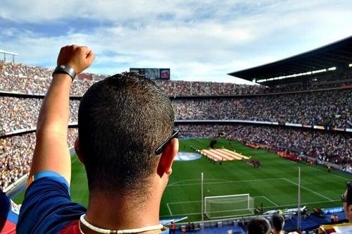 Soccer fans cheering.