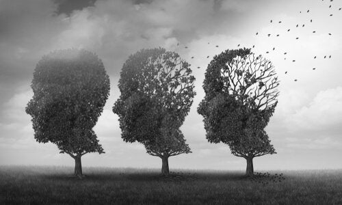 Three trees in the form of heads.