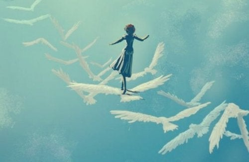 A girl flying on top of birds in the sky.