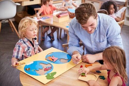 Children learning through the Montessori method.
