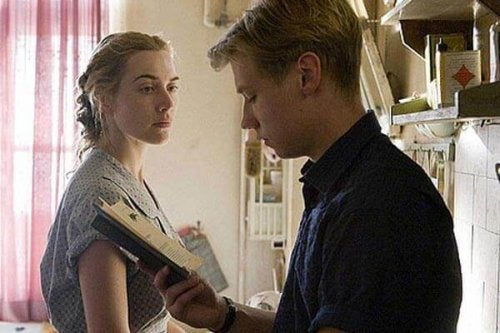 A still from a scene from The Reader where Michael is reading a book to Hanna.