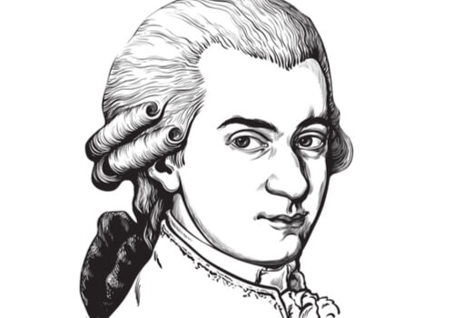 A drawing of Wolfgang Amadeus Mozart.