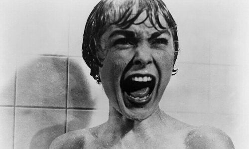 Show scene in Psycho with woman screaming in shower.