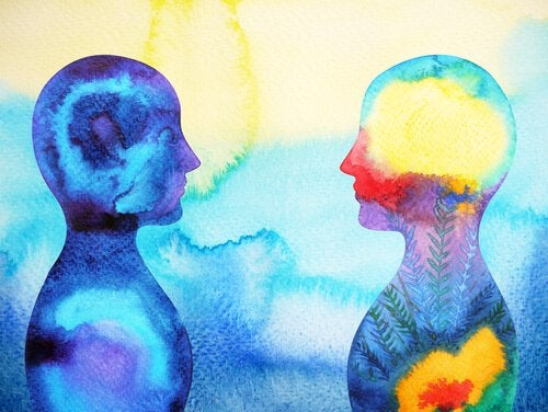 A watercolor of two people facing each other.