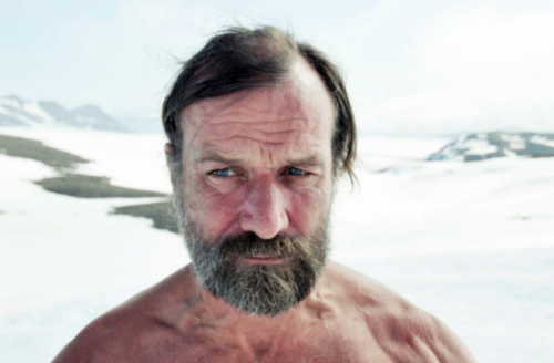A photo of Wim Hof in the arctic.