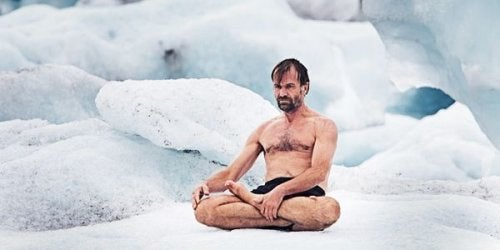 Wim Hof on ice.