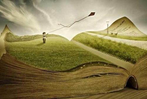A boy flying a kite over a book landscape.