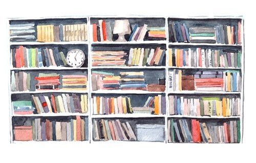 A sketch of a bookcase.