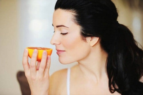 A woman practicing mindful eating.