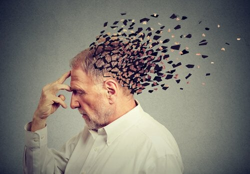 An older man's head breaking into pieces.