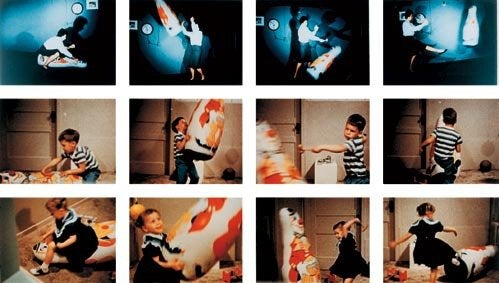 Stills from the Bobo doll experiment.