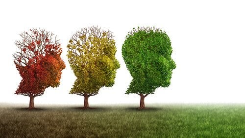 Head-shaped trees representing cognitive impairment.