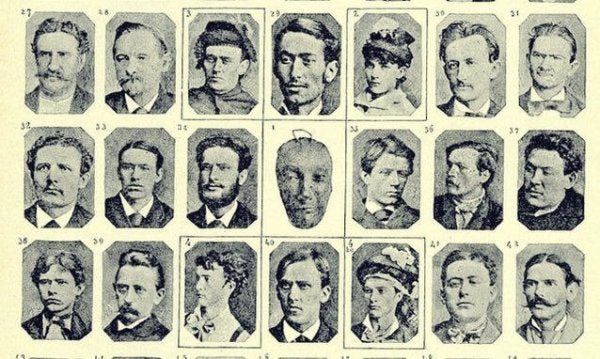 A old paper showing small portraits of various criminals in black-and-white.