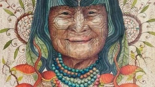 A drawing of an indigenous woman.