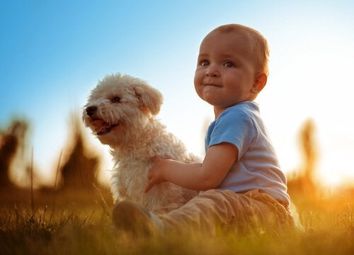 A little boy with his dog.