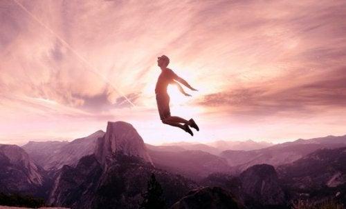 A man jumping.