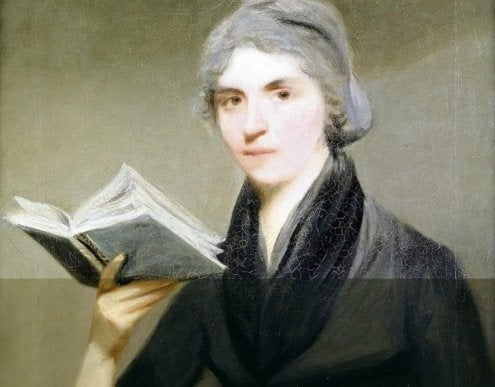 A portrait showing Mary Wollstonecraft with a book in her hand.