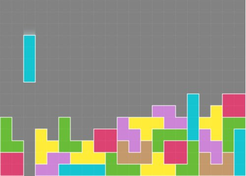 A picture showing a Tetris game in progress, with many colorful blocks already in place.